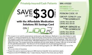 LiDORx Copay Card
