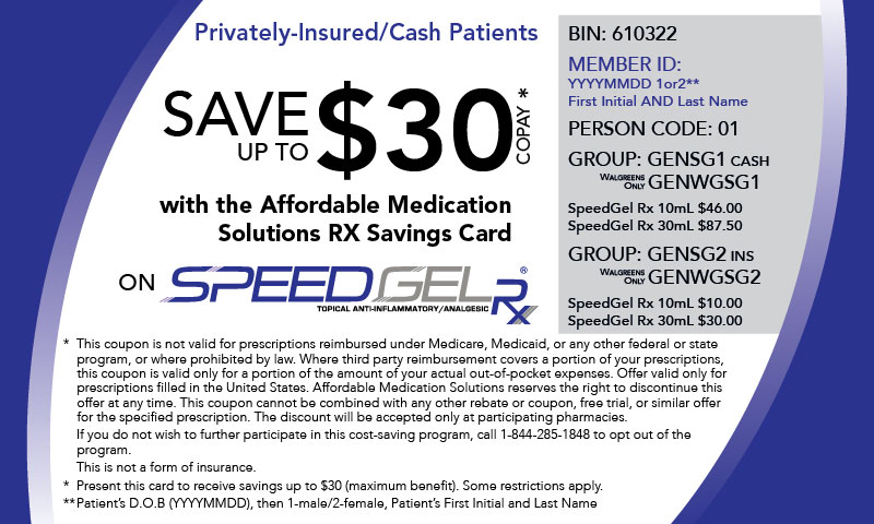 SpeedGel Rx Copay Card